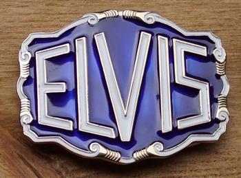 """Elvis Gürtelschnalle  """" Elvis """"  Blau / Weiss  AUSVERKAUFT"""