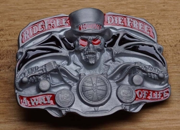 """Belt buckle   """" Ride free, die Free, away of life """""""