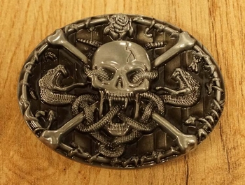 "Belt buckle "" Skeleton with Motorcycle Helmet "" AUSVERKAUFT"