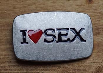"""Gürtelschnalle  """" I love sex """""""