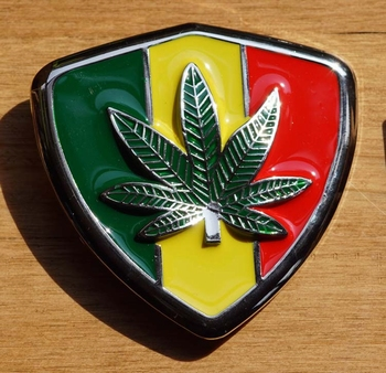 """Gürtelschnalle  """" Rasta Schild Cannabisblatt """""""