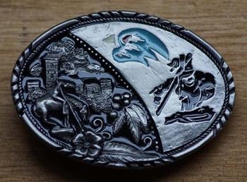 """Gürtelschnalle  """" End of the trail """" Schwarz / Silber / blau"""