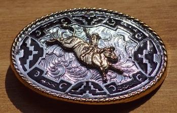 "Buckle  "" Rodeo ""   Silber / Gold / Schwarz farbig"
