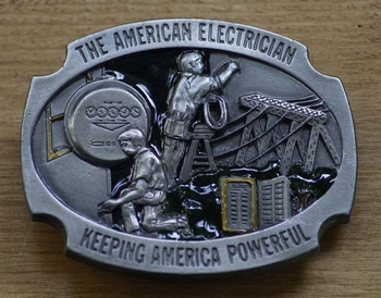 """Buckle """" The american electrician, keeping america powerful"""""""