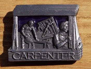"""Dekorative Schnalle  """" Carpenter """"  ( Tischler )"""