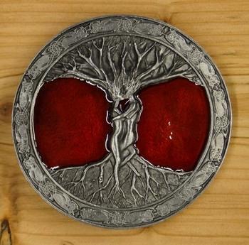 "Buckle  "" Tree of life ""   Rot / Silber gefärbt"