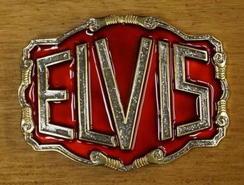 "Buckle  "" Elvis "" Rot / Silber glitzern / Gold  Farbig"