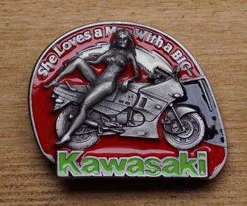 "Gürtelschnalle "" She loves a man With a big KAWASAKI  """