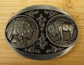 """Buckle """" Münze five Cents Indianerkopf, Bison """""""