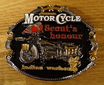 "Motor cylce buckle  "" Schout's Honour Indian "" Schwarz/gold"