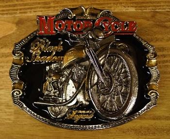 "Motor cylce buckle "" Black Shadour "" Schwarz/rot/gold farbig"