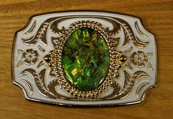 """Gürtelschnalle  """"  Steine Grün""""  Weiss / Gold farbig"""