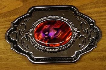 """Belt Buckle """"  Steine Rot """"   Silber farbig / Schwarz"""