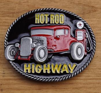 "Gürtelschnalle  "" Hot rod, Highway """