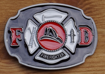 "Gürtelschnalle "" FD  Firefighter ""   (Feuerwehrmann)"