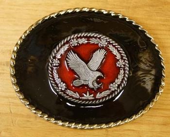 """Belt buckle  """" Fliegender Adler """"  Hintergrund schwarz"""