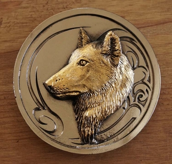"""Buckle  """" Wolf  """"  Silber- / Gold Farbe"""