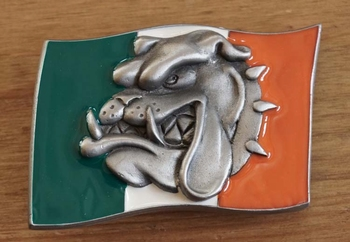 "Buckle  "" Italienische Flagge mit Bulldoggenkopf """