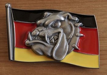 """Buckle  """" Deutsche Flagge mit Bulldoggenkopf """""""