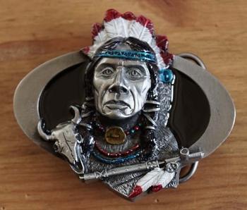 """Buckle  """" Indianer mit Friedenspfeife """""""