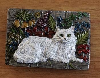 """Buckle  """" Weiße Katze """""""