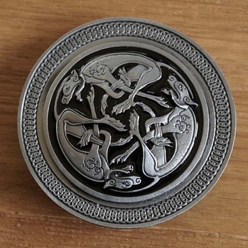 "Belt buckle  "" 3 Celtic Dogs """