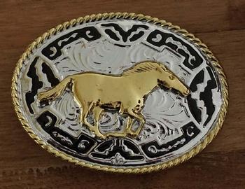 """Gürtelschnalle """" Galoppierendes Pferd """" Silber / gold farbe"""