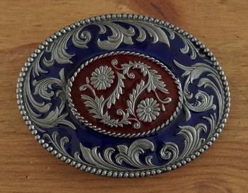 """Buckle  """" Zeirmotieven mit Blumen design """" Blau / Rot"""