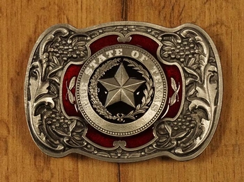 """Belt buckle  """" The state of Texas """" Rot / Nickle Farbe"""
