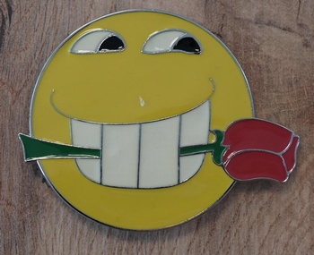 """Buckle  """" Smiley mit Rose """""""