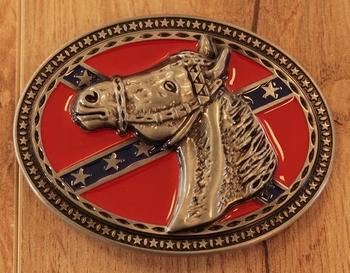 "Buckle  "" Rebellenfahne mit Pferdekopf  """