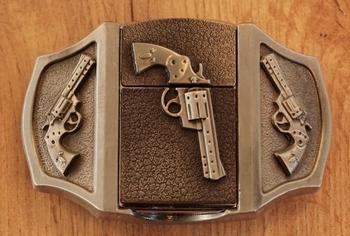 """Belt buckel with lighter """"  Revolver """""""