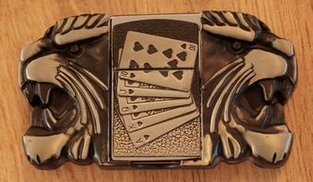 """Belt buckel with lighter """" Tigerköpfen mit Pokerhand """""""