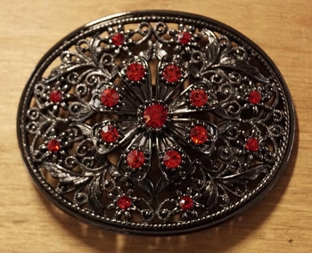 """Rhinestone Gürtelschnalle  """" Blume motiv """" strass Rot"""