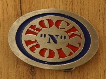 """Gürtelschnalle  """" Rock 'n Roll """" Gitarre und Saxophon"""