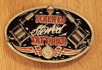 """Gürtelschnale """" Screwed stewed tattooed """"  AUSVERKAUFT"""