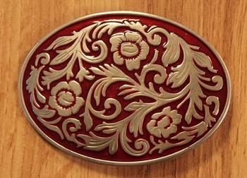 "Buckle  "" Blumen design "" Rot / Silber Farbe"