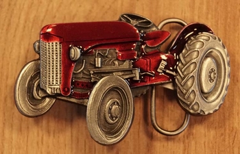 "Buckle  "" Traktor "" Rot /  Nickelfarben"
