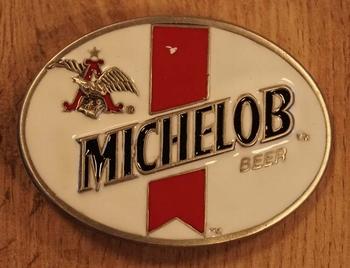 "Gürtelschnalle  "" Michelob beer "" Weiss / Rot"