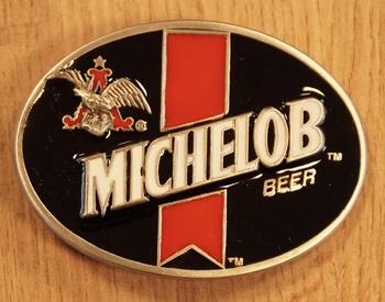 """Gürtelschnalle  """" Michelob beer """" Schwarz / Rot / Weiss"""