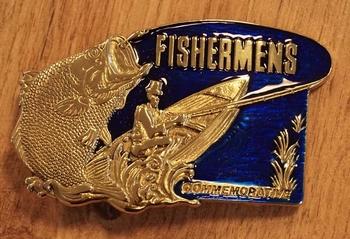 """Gürtelschnalle  """" Fishermens """"  Gold Farben / blau"""