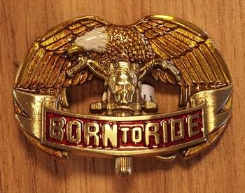 """Gürtelschnalle  """" Born to ride """"  Adler"""