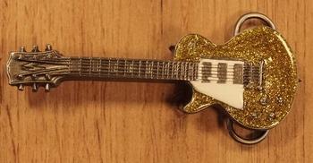 "Buckle  "" Gitarre ""  Glitzergold / Weiss"