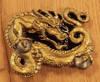 """Gürtelschnalle  """" Dragon """" Schwarz / Gold Farbe"""