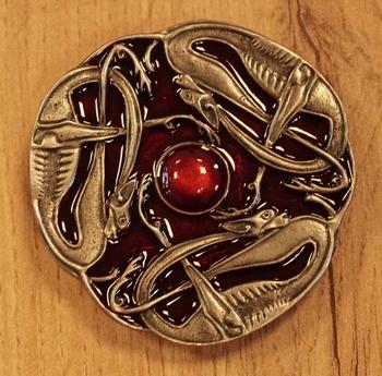 """Buckle  """" Drei keltische Schlangen """"  Rot"""