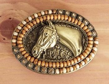 """Buckle  """" Pferd mit zier Perlen Braun und Beige  """""""