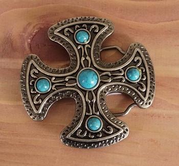 """Buckle  """" Maltezer Kreuz mit Turquoise Steinen """""""