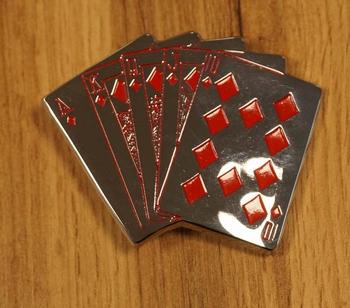 """Buckle  """" Spielkarte Pokerhand """"  Silberfarben"""