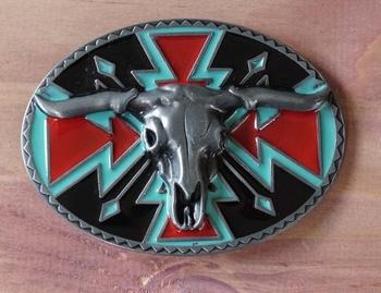 """Buckle  """" Longhorn auf Schild mit indianer Motiven """""""