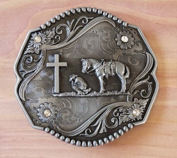 """Gürtelschnallle  """" Cowboy mit Pferd am Grab beten """""""